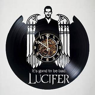 Lucifer - DC 漫画 - 手工乙烯基唱片挂钟 - 恐怖时钟艺术作品礼物,适合生日、圣诞节、女士、男士、朋友、男女朋友、男朋友和青少年 - 客厅幼儿房