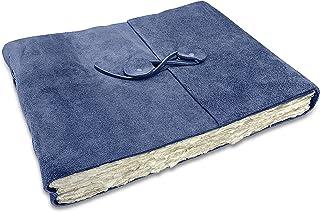 """Wanderings Blue Suede Leather Watercolor Journal 冷压纸,带有用于剪贴簿、水彩画、相册的手工 Deckle Edge 纸 - 10 x 12.5"""" (约25.4 x 31.75厘米)- 350 GSM"""