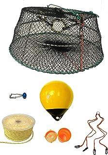 KUFA 运动塔式虾陷阱带 400 英尺绳,黄色浮,通风诱饵罐和*带组合