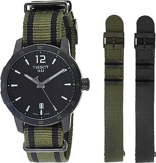 Tissot 男式石英不锈钢和尼龙休闲手表,颜色:黑色(型号:T0954103705700)