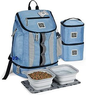 移动狗狗装备,狗狗旅行袋,Drop Bottom Week Away 背包,适合中型和大型犬,包括 2 个带衬里的食品背带和 2 个可折叠的狗碗,蓝色