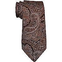 Kiton 棕色佩斯利印花 7 折领带