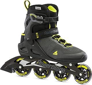 Rollerblade Macroblade 80 男士成人健身直排轮滑,黑色和柠檬黄,性能直排轮滑鞋
