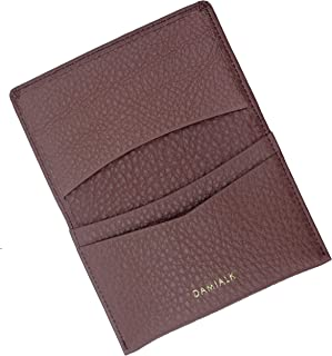 [DAMIALK] 全粒面牛皮名片夹男士女士信用卡包 - 粉色