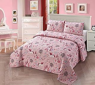 3 件套全套/中号双人床被子床单套装 儿童/青少年女孩多色玫瑰独角兽彩虹城堡新款