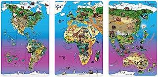 Dowling Magnets 动物磁力野生动物地图拼图套装,3 件套拼图:北美和南美洲,欧亚和非洲,亚洲和澳大利亚(每块拼图:11.50 英寸宽 x 18 英寸高)