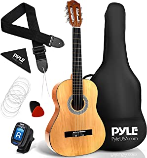 Pyle 经典原声吉他 - 1/4 青少年尺寸 6 Linden 木质吉他 w/琴袋、调谐器、尼龙弦、拨片、表带,适合初学者、成人、右手、30 英寸(约 76.2 厘米) 1/4 英寸(约 30.5 厘米)