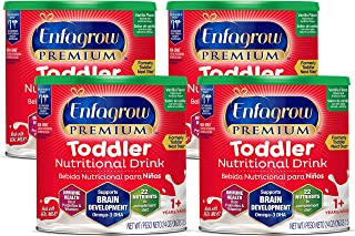 Mead Johnson 美赞臣 Enfagrow 3段婴幼儿奶粉 (适合1-3岁) 香草味 24盎司/ 约680.39克罐装(4罐)(含DHA, PDX+GOS益生元组合)