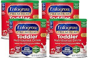 Mead Johnson 美赞臣 Enfagrow优质 欧米茄3 DHA益生元(Formerly 幼儿Next Step)幼儿营养奶粉,1-3岁,香草味,24盎司/ 约680.39克罐装(4罐) 来源于Enfamil的制造商