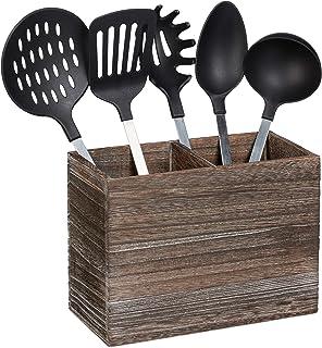 Relaxdays 10025561 厨房用具架,2 个用于厨房帮手和餐具的隔层,高宽度 17 x 24 x 12 厘米,木质餐具篮,深棕色