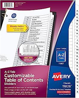 Avery A-Z 标签隔板,适用于 3 环活页夹,可自定义目录,经典白色标签,1 套 (11828)
