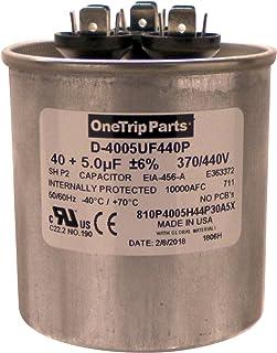 OneTrip Parts 美国运行电容器 40+5 UF 40/5 MFD 370 VAC / 440 VAC 2-1/2 英寸圆形重型电池
