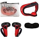Amaz247 硅膠防漏面罩,防護鏡頭蓋,控制器手柄蓋,帶 Hnadle 帶 Oculus Quest VR 耳機 紅色
