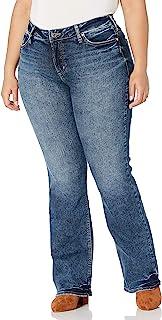 Silver Jeans Co. 女士加大码 Elyse 中腰修身微喇牛仔裤