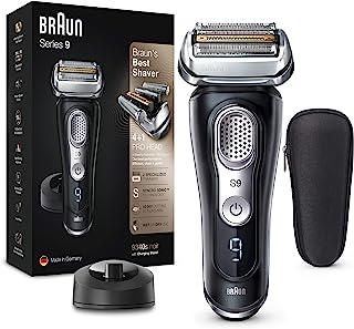 Braun 博朗 9系列 优质干湿两用电动剃须刀 带有4+1刀头套装,剃须刀和精密修剪器,充电底座,60分钟续航锂离子电池,自动感应技术,SyncroSonicTM,黑色
