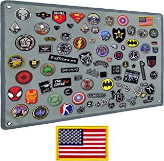 IronSeals 战术板补丁收纳架展示环表面、钢环和旗帜补丁(S 码:60 x 45 厘米/ 23.6 英寸 x 17.7 英寸,灰色 + 旗帜补丁)
