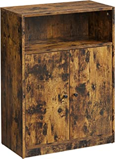 VASAGLE 工业存储地板橱柜,门可调节搁板隔层,23.6 英寸(约 59.9 厘米)宽,乡村棕色
