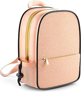 25.4 厘米粉色闪光迷你背包女孩 | 闪亮学校学龄前背包 | 女士节日保湿背包 | 女孩亮片背包 | 青少年和女孩书包 玫瑰金 小号