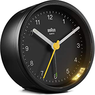BRAUN 博朗 带贪睡和灯光的经典模拟闹钟,静音石英机芯,渐强式蜂鸣闹钟,黑色,型号BC12B。