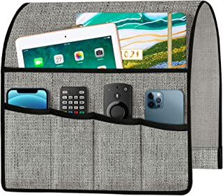 Joywell 厚亚麻沙发扶手椅架扶手收纳架,遥控支架,适用于躺椅 5 个口袋,适用于杂志、平板电脑、手机、iPad、灰色