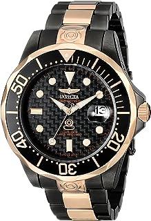Invicta 男士 10643 Pro Diver 自动黑色碳纤维表盘双色不锈钢手表