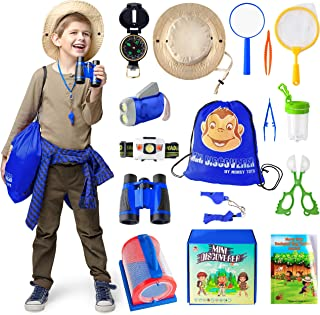 捕虫套件 - 儿童探险家套装和迷你双筒望远镜 - 优质教育玩具,适合幼儿、户外冒险、狩猎、间谍、露营、学习,是送给男孩和女孩的*礼物