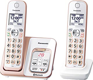 Panasonic Link2Cell 蓝牙无线电话与语音协助和应答机 - 3 个手机 Two Handset - KX-TGD562G 玫瑰金 需配变压器