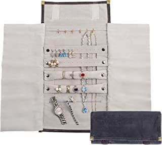 YHY 优质家居和旅行首饰收纳盒,轻巧小巧首饰架,防变色,可大存放项链、手链、戒指、耳环、珍珠和手表。(灰色,标准)