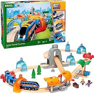 BRIO World 33972 Smart Tech Sound Action Tunnel 旅行火车套装,附带轨道和隧道的电动火车,建议3岁以上儿童使用的互动玩具