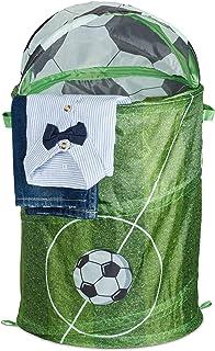 Relaxdays 弹出式洗衣篮,带足球图案,可折叠,40 升,儿童玩具篮高x深:63 x 35 厘米,*