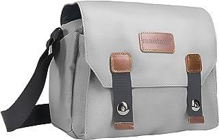 Mantona 相机包 Milano piccolo (适用于数码单反相机和系统相机的时尚通用包,带配件,复古,灰色内饰)灰色