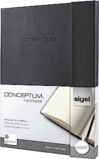Sigel conceptum系列 黑色磁扣硬封面竖纹硬封面商务笔记本B5+横线内页