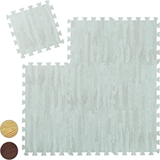 Relaxdays 地板保护垫 9 块拼图垫 适用于运动和健身设备 Eva 泡沫 不含 BPA 木质外观 颜色