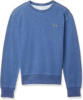 Lacoste 法国鳄鱼 吸汗 [官方] 常规修身款 高级棉 靛蓝圆领运动衫 男士 SH100EM