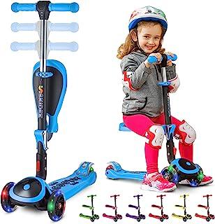S SKIDEE 儿童滑板车,带折叠/可拆卸座椅 - 可调节高度,3 个 LED 灯轮,3 轮踢踏板车,男女宝宝适用 Scooter 浅蓝色 SRBLUE-SP2