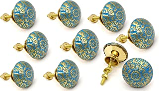 5MoonSun5's 黄铜门把手/抽屉拉手梳妆台门把手/拉手推把手适用于橱柜、衣柜和厨房橱柜/手工经典五*饰,38 毫米天蓝色(10 件装)