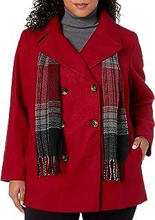 LONDON FOG 女式双排扣大衣,带围巾