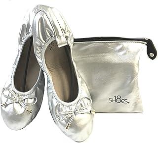 Shoes 18 女式可折叠便携式旅行芭蕾平底鞋,带配套手提箱