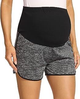 V VOCNI 孕妇短裤冰丝凉爽锻炼跑步短裤 2 合 1 运动瑜伽运动短裤