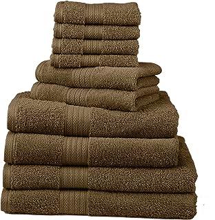 Divatex Home Fashions 10 件套豪华毛巾套装,咖啡色