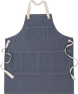Penguin Home * 纯棉灰色石洗牛仔围裙带可拆卸天然棉领带和可调节颈带 | 中性款围裙 | 厚面料 (520 gsm) 围裙