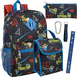 男童 6 合 1 背包套装,带午餐袋、铅笔盒和配件