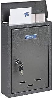 Relaxdays 带姓名牌信箱,金属制成,带 2 把钥匙,窄信箱,高 x 宽 x 深:35.5 x 24 x 9 厘米,灰色
