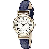 Anne Klein AK / 2246CRNV 女士皮革表带手表,Navy Blue/Gold