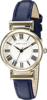 Anne Klein AK / 2246CRNV 女士皮革表带手表,Navy Blue/Gold