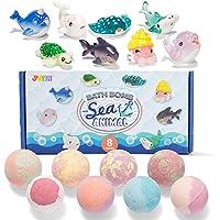儿童爆炸浴盐 带海洋动物玩具,8 件装泡泡浴炸弹,内含惊喜玩具,天然精油 SPA 沐浴气泡套装