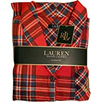 Ralph Lauren 格纹红色蓝色披肩领女式睡衣套装,2 件,中号