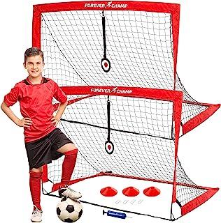 Forever Champ 足球网,带靶子、锥体和泵 - 4x3 英尺,玻璃纤维制成的球杆 - 便携式设备带便携袋,适合室内、海滩、后院练习 - 适合儿童和成人