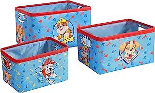 Idea Nuova Nickelodeon 狗狗巡逻队 3 件套可嵌套矩形储物箱,带索环手柄,用于整理玩具、游戏、衣物在育儿室、游乐室、卧室、浴室