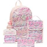 6 件套亮片女孩背包套装,16 英寸(约 40.6 厘米)带可洗布儿童面罩、午餐袋、铅笔盒... 粉红色 16英寸